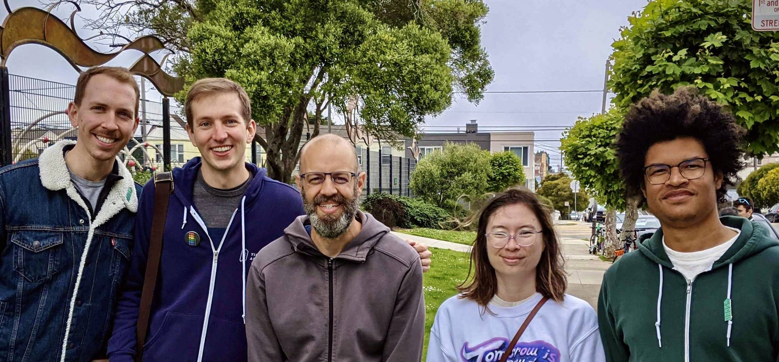 Five YIMBY housing activists standing next to each other for a group photo